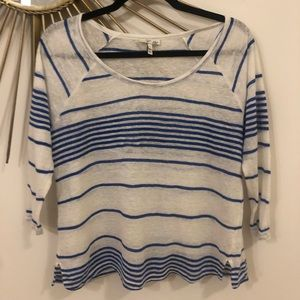 Joie Blue & White Striped Linen Top